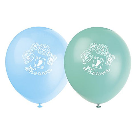 12  Latex Baby Stitching Blue Baby Shower Balloons, 8ct