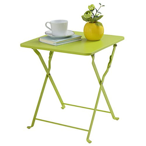 Finnhomy Small Square Folding Side End Table Sofa Table Tray Side Table Snack Table Metal Anti-Rusty Outdoor and Indoor Use for Little Stuff Multi-use, Green