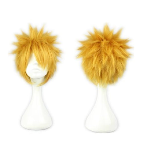 COSPLAZA Cosplay Wig Short Spiky Gold Anime Show Party Full Hair