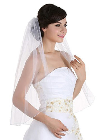 1T 1 Tier Pencil Edge Bridal Wedding Veil - White Elbow Length 30