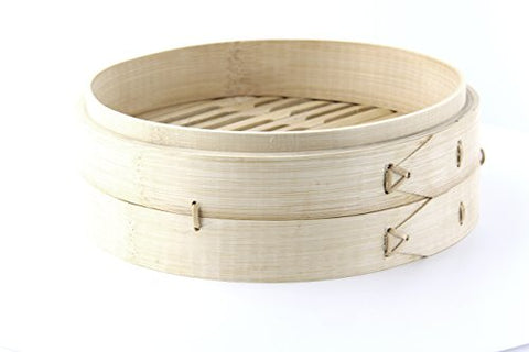 PacknWood Dim Sum Large Bamboo Steamer Base, 7.9  Diameter x 2.4  High (Case of 10)