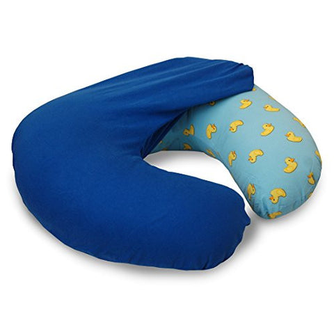NurSit Nursing Pillow with Removable Blue Slipcover, Ducky Print