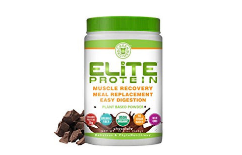 Elite Protein - Organic Plant Based Protein Powder, Chocolate, Pea and Hemp Protein, Muscle Recovery and Meal Replacement Protein Shake, USDA Organic, Non-GMO, Dairy-Free, 1.24 pounds