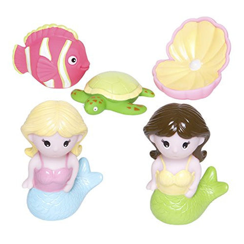 Elegant Baby 5 Piece Bath Time Fun Rubber Water Squirties Vinyl Zip Storage Bag, Mermaid Party/Multi