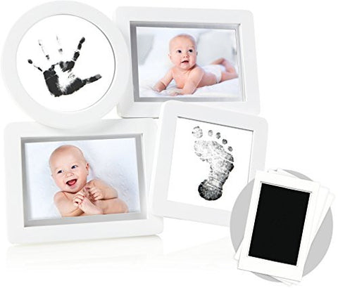 Pearhead Babyprints Newborn Collage Frame with Clean-Touch Ink Pad Included, White