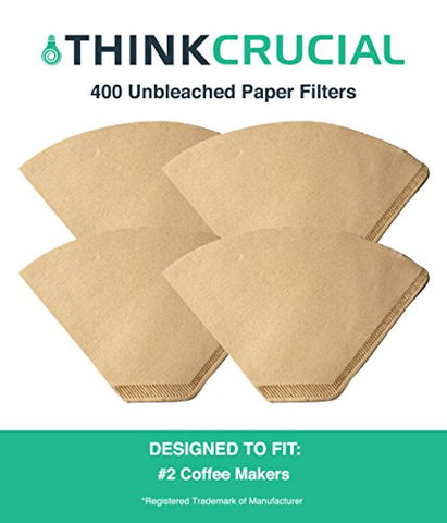 400 #2 Coffee Filters Unbleached, All Natural, Brew Brown Paper Cone, Fits All Coffee Makers With #2 Number 2 Coffee Basket Holder including Melitta, by Think Crucial