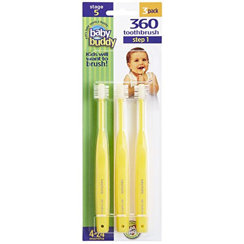Baby Buddy 360 Toothbrush Step 1 Stage 5 for Babies/Toddlers , Kids Love Them, Yellow, 3 Count