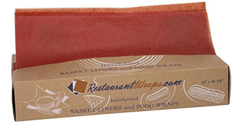 RestaurantWraps.com Interfolded Waxed Tissue, Basket Liner and Food Wrap, 12  x 10.75 , Cinnamon (6 Packs of 500 Sheets)