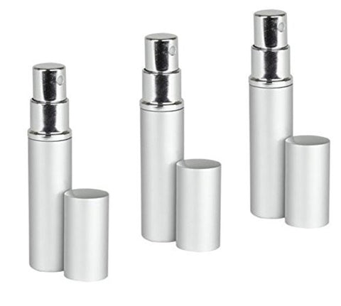 Silver Aluminum Perfume Atomizer Fine Mist Sprayer 3 ML for purse or travel Refillable by MagnaKoys®