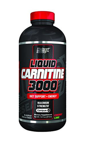Nutrex Research Liquid L-Carnitine 3000 Supplement, Cherry Lime, 16 Fluid Ounce