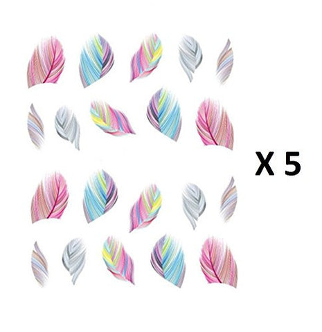 Beaute Galleria – 5 Sheets Nail Art Decals Water Transfer Stickers Manicure Colorful Rainbow Feathers