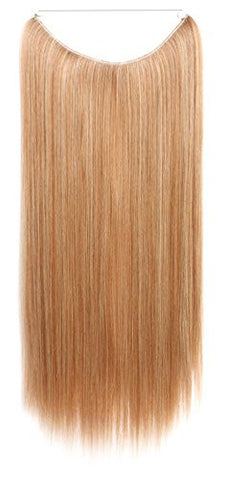 SWACC Straight/Curly Halo Wire Hidden Hairpiece Flip Synthetic Hair Extensions NO Clip Ins 80G (22-Inch Straight, Strawberry Blonde/Bleach Blonde Mixed-27/613#)