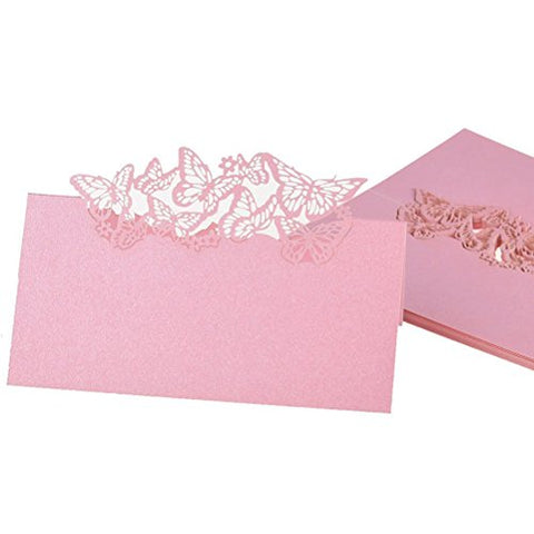 NUOLUX Table Name Place Cards Favor Decor Butterfly Laser Cut Design (Pink) 50pcs