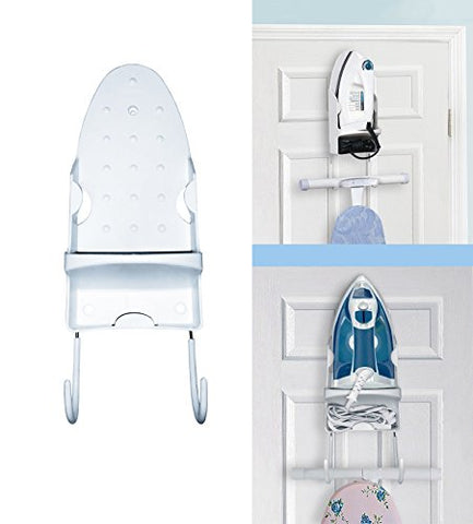 Door Iron Holder with hook for Ironing Board With Cord Holder, keep it all behind your door! Great Space saver!