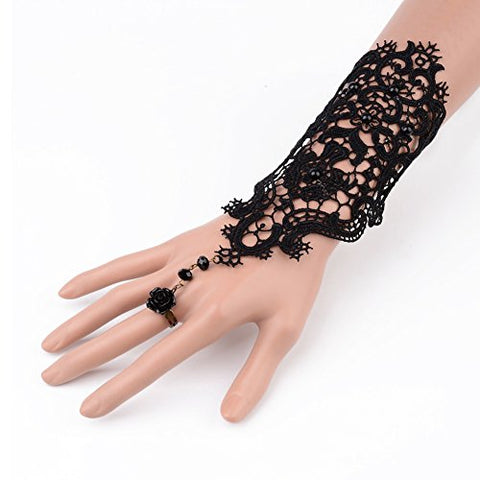 Fashewelry Black Gothic Victorian Lace Bracelet Rose Vampire Vintage Handmade Wedding Bracelet Ring Set for Christmas Party