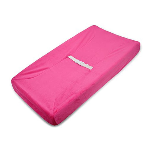TL Care Heavenly Soft Chenille Fitted Contoured Changing Pad Cover, Fuchsia