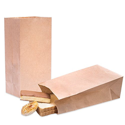 Halulu Brown Paper Bags - 6  x 4  x 12  Lunch Paper Bags -