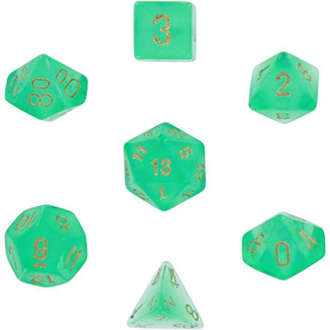 Polyhedral 7-Die Borealis Chessex Dice Set - Light Green with Gold Numbers CHX-27425