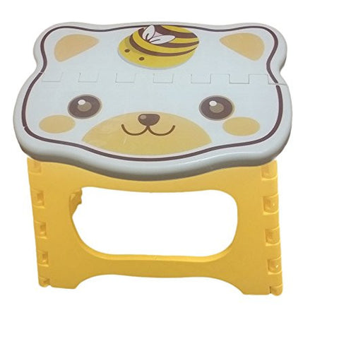 Kids Step Stool 9 inch width by 8 inch tall, Fold able easy to carry. Teddy face on top to add color & fun! (Yellow)