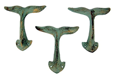 Whale Tail Cast Iron Wall Hook 4 3/8 Inch (Set of 3)