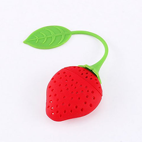 Silicone Strawberry Tea Leaf Infuser Strainer For Teapot Teacup Brew Cup , Red/Green