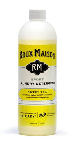 Roux Maison All Natural Laundry Detergent + Odor Eliminator HE Detergent, Hypoallergenic Laundry Detergent Liquid + Environmentally Friendly Sports Detergent for Sensitive Skin - Sport Sweet Tea 16oz