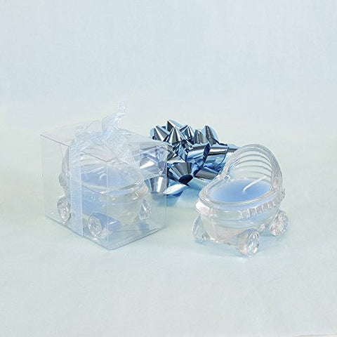Lunaura Baby Keepsake - Set of 12 Boy Glass Baby Stroller Scented Candle - Blue