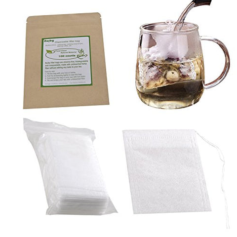 Tea Filter Bags, Unbleached 100% Natural Drawstring Empty tea bags for Loose, Herbal, Green & Weight Loss Tea - NUIBY Disposable Tea Infuser Bags - 1cup capacity, 100 counts (2.4in 3.2in)