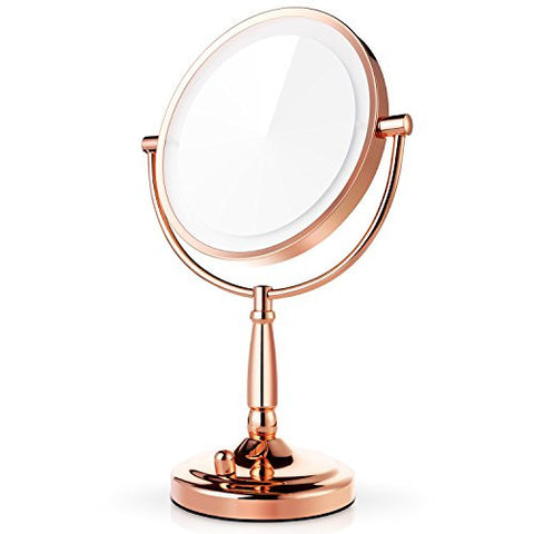 Miusco 7X Lighted Magnifying Double Side Adjustable Makeup Mirror, 8 inch, Rose Gold