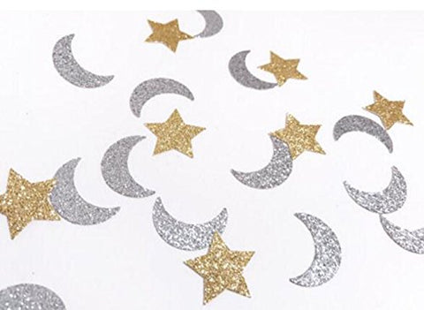 Double-Side Gold Glitter Star and Glitter Silver Moon Confetti Wedding Bithday Parties Bridal Shower Confetti Baby Shower Decorations Table Scatters Setting, 200pcs