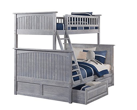 Nantucket Bunk Bed Twin over Full with Raised Panel Drawers, Twin/Full, Driftwood Grey