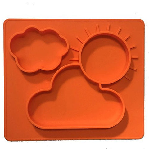 One-piece silicone placemat + plate for kids. No spill 3 Large sections for solids & liquids. Orange
