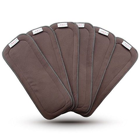 LovedByMoms 5-Layer Charcoal & Bamboo Reusable Diaper Inserts 6Pk