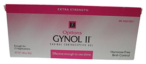 Options Gynol II Extra Strength Vaginal Contraceptive Jelly, 2.85 oz - 3 Count