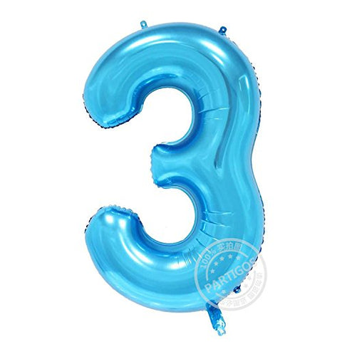 Partigos 40inch blue number digital Aluminum Foil Helium Balloon for Birthday Party, Anniversary Party Decoration figure globos (3)