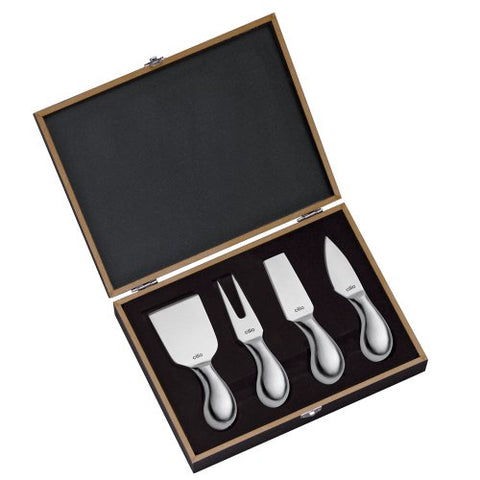 Cilio Piave Brushed Stainless Steel Cheese Knife in Wooden Box, Set of 4