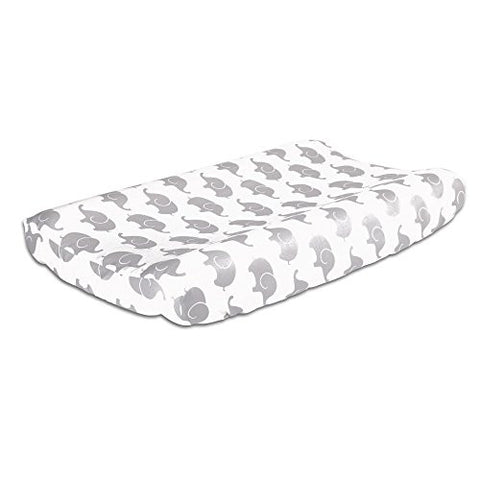 Grey Elephant Print Cotton Changing Pad Cover by The Peanut Shell
