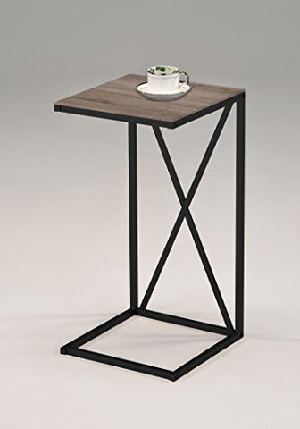 Reclaimed Wood Look Finish Black Frame Snack Side End Table X-Design