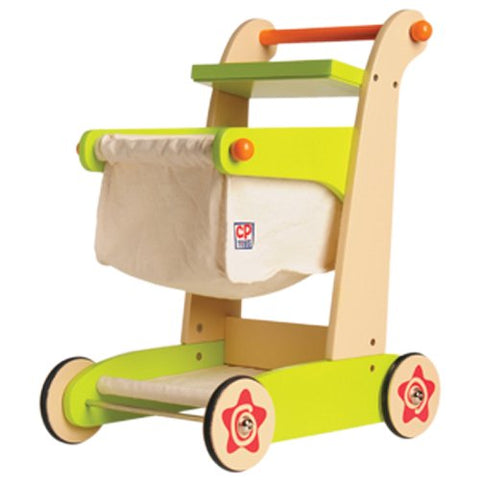 Constructive Playthings SNG-24 Cp Toys Kid-Sized Wooden Shopping Cart - For Pretend Play