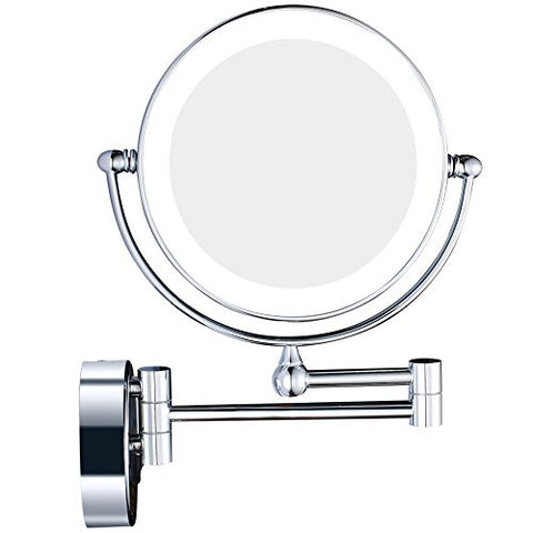 GURUN 8-Inch Lighted Wall Mounted Mirror LED Light with 7x Magnification,Two-sided Swivel ,Power By Plug,Chrome Finish M1805D(8in,7x)