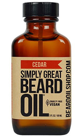 Simply Great Beard Oil - CEDAR Scented Beard Oil - Beard Conditioner 3 Oz Easy Applicator - Natural - Vegan and Cruelty Free Care for Beards - America's Favorite
