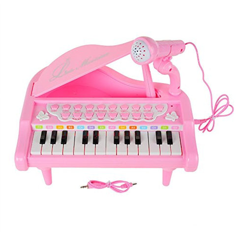 Piano Keyboard Toy 24 Keys Pink Electronic Musical Multifunctional Instruments with Microphone