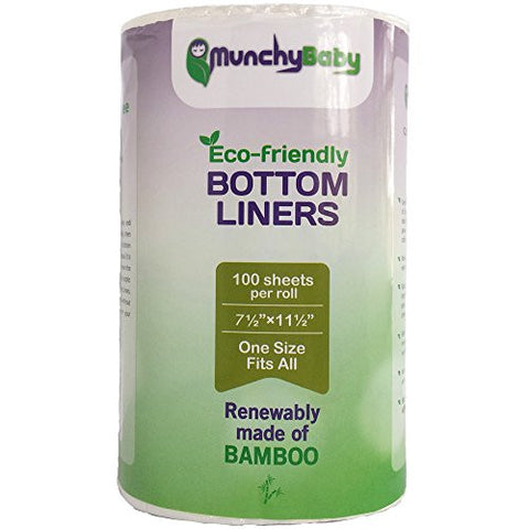 "Flushable Cloth Diaper Liners of Biodegradable Bamboo Viscose by MunchyBaby 6½""×11"""
