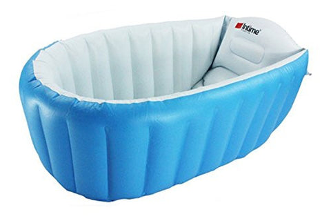 L&FY Inflatable Baby bathtub Plastic Mini Air Swimming Pool Kids Thick Foldable Shower Basin (Blue)