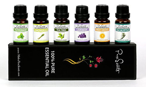 Best Essential Oils Gift Set by PureScents, 100% Pure, Six 10ml (0.34 fl oz) Aromatherapy Oils. Perfect to kill Germs, Bad Smells and a Bad Mood, great for a Relaxing and Rejuvenating Experience!
