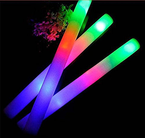 Taotuo 30 PCS 19 LED Light-Up Foam Sticks Rally Rave Cheer Tube Soft Glow Baton Wands