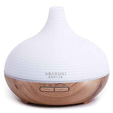 ASAKUKI 300ML Premium, Essential Oil Diffuser, Quiet 5-In-1 Humidifier, Natural Home Fragrance Diffuser with 7 LED Color Changing Light and Easy to Clean by ASAKUKI