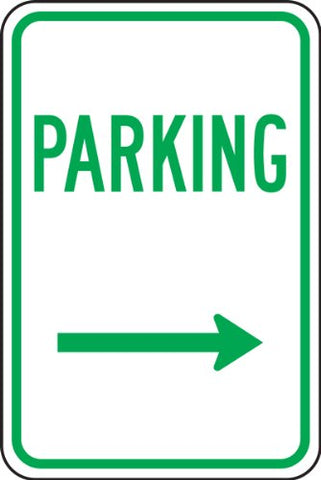 Accuform Signs FRP226RA Engineer-Grade Reflective Aluminum Parking Sign, Legend  PARKING (ARROW RIGHT) , 18  Length x 12  Width x 0.080  Thickness, Green on White