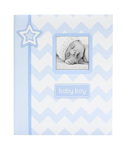 Lil' Peach Chevron Baby Memory Book, Blue