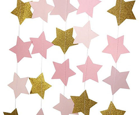 Parmay Pink and Gold Star Garland Wedding Decor 12feet